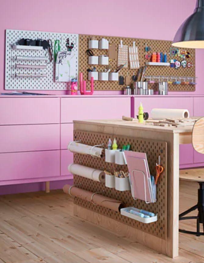 Skådis Pegboard Wood Ikea In 2021 Ikea Crafts Desk Organization Diy Craft Room Storage