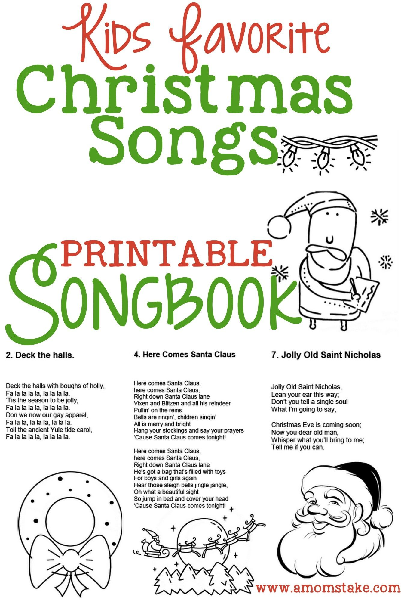 Christmas Songs For Kids Free Printable Songbook A