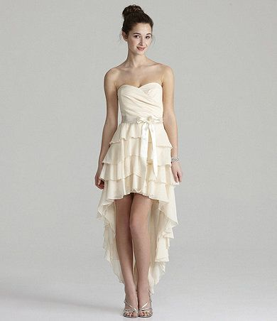 55eb64ef75 Available at Dillards.com  Dillards - Ivory Strapless Tiered High-Low Dress