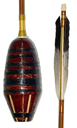 Kabura-ya (turnip-headed arrow), 18th to 19th century, a signal arrow with large whistling head. The head is of carved bamboo root with bone inserts, and wrapped with black string.  Head is 17 cm long and has a maximum diameter of 7.5 cm.