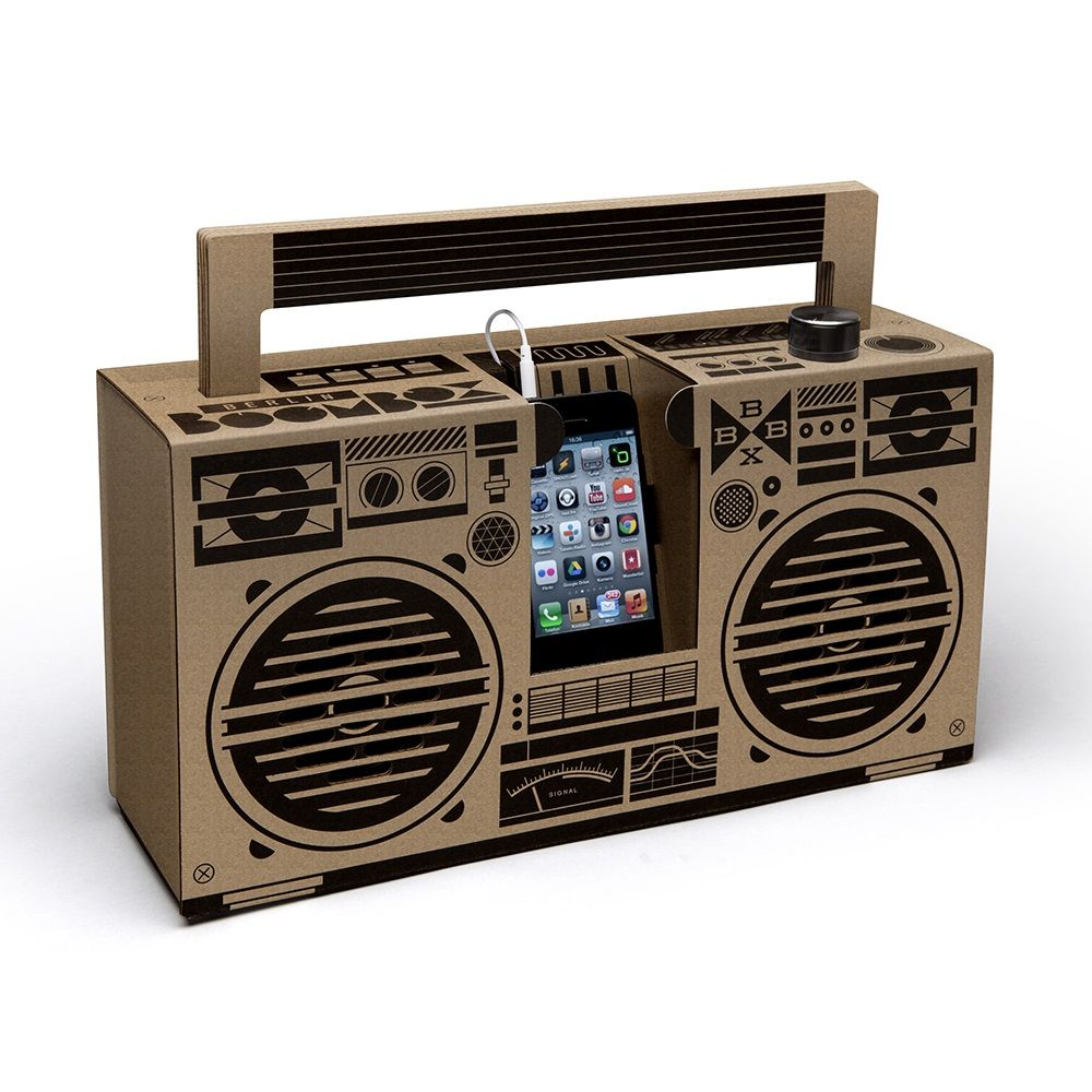 Berlin Boombox Mobile Smartphone Speaker In Brown Gifts For Him Music Retro Gift Eco Friendly Men
