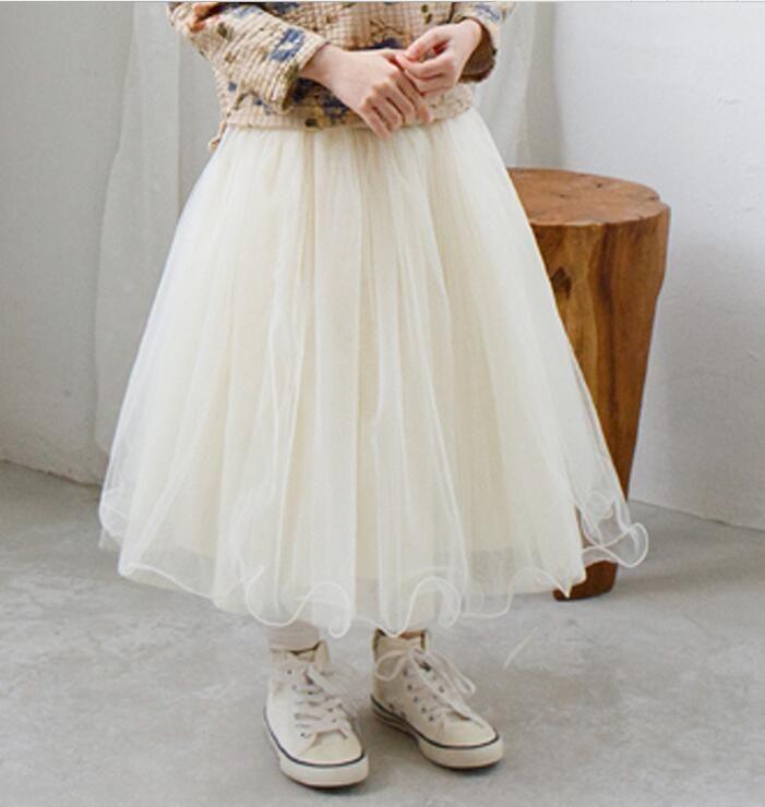 ad76bf3a8e8a24 Goedkope Meisjes rokken 2016 zomer nieuwe mode meisje beige grijs kant lange  tulle tutu rok kid