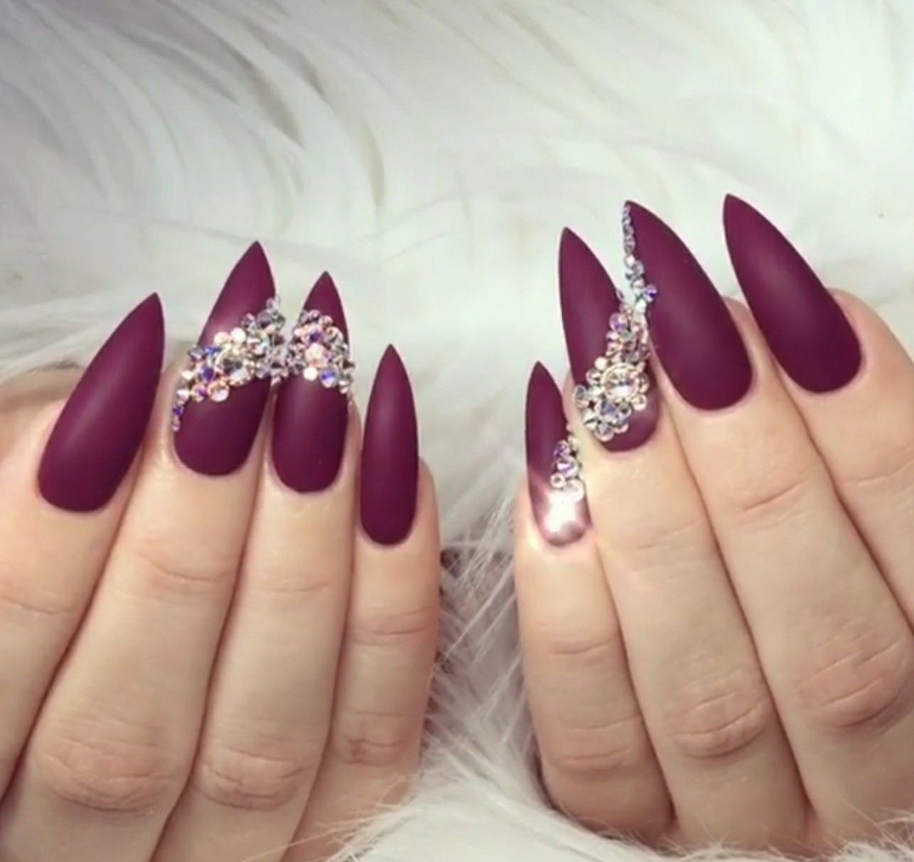 Stiletto Nails Nails With Rhinestones Burgundy Matte Nails Fall