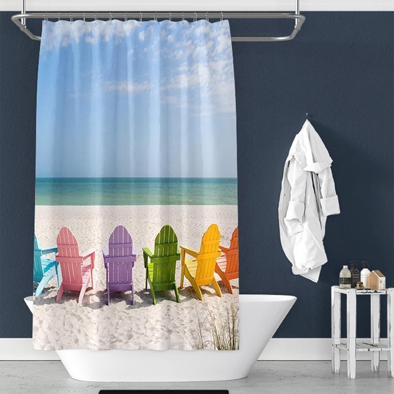 Beach Lounge Chair Pongee Shower Curtain Interior TYChome Diy Farmhouse