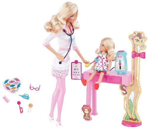 Barbie I Can Be Pediatric Doctor Playset by Mattel. $37.99. From the Manufacturer                Barbie I Can Be Pediatric Doctor Playset: Girls can play out the role of pediatric doctor with Barbie doll and Kelly doll plus have access to additional online content that allows girls to further try on the roles. Code inside each package unlocks career-themed content online. The pediatric doctor playset includes a gauge to measure blood pressure by pressing the top of...