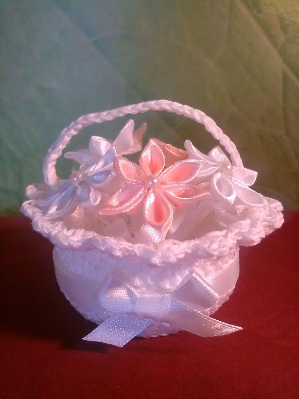 Handcrocheted bonboniere Baptism basket bag bonboniere Wedding ...