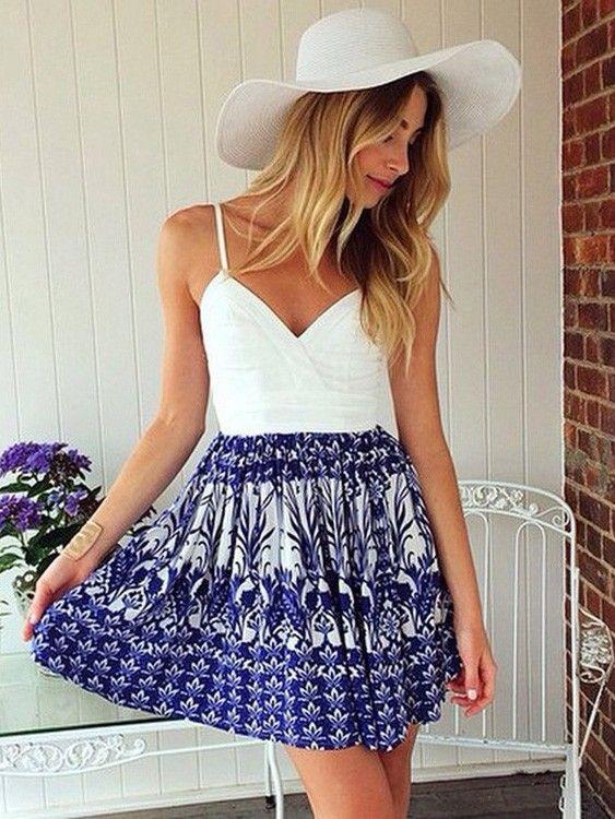 Retro White Blue Stitching Deep V-neck Printed Sleeveless Mini Harness Dress Open Back