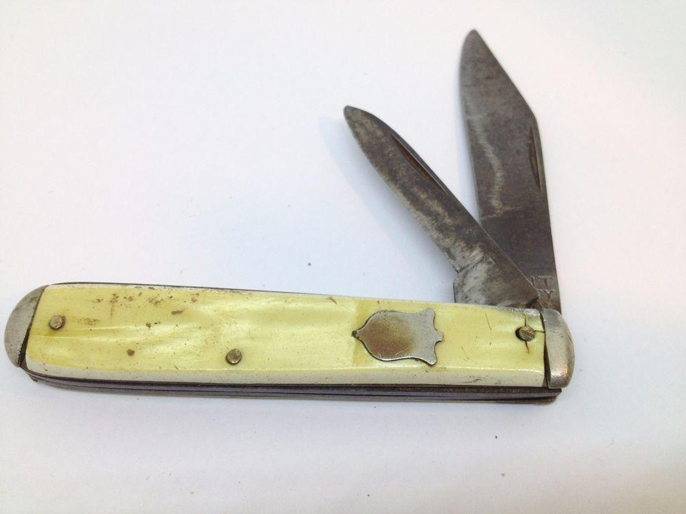 Vintage Kent Ny City Usa 2 Blade Folding Pocket Knife