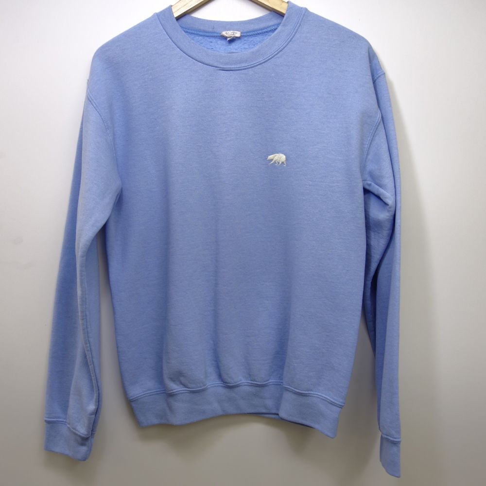 New Womens John Galt Light Blue Bear Crewneck Pullover Sweatshirt Size Small Johngalt Sweatshirtcrew Sweatshirts Long Sleeve Tshirt Men Pullover Sweatshirt