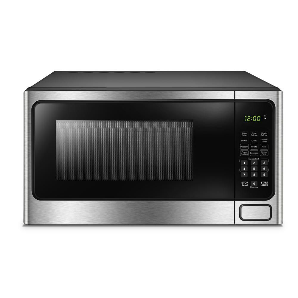 Danby 1 1 Cu Ft Countertop Microwave In Stainless Steel Silver
