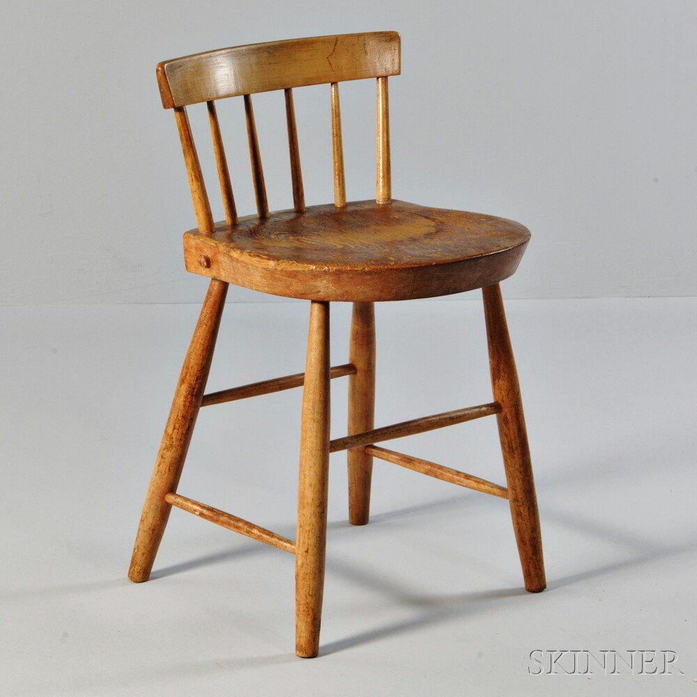 Shaker Low Back Dining Chair, Probably Canterbury, New Hampshire, Pine And  Ash