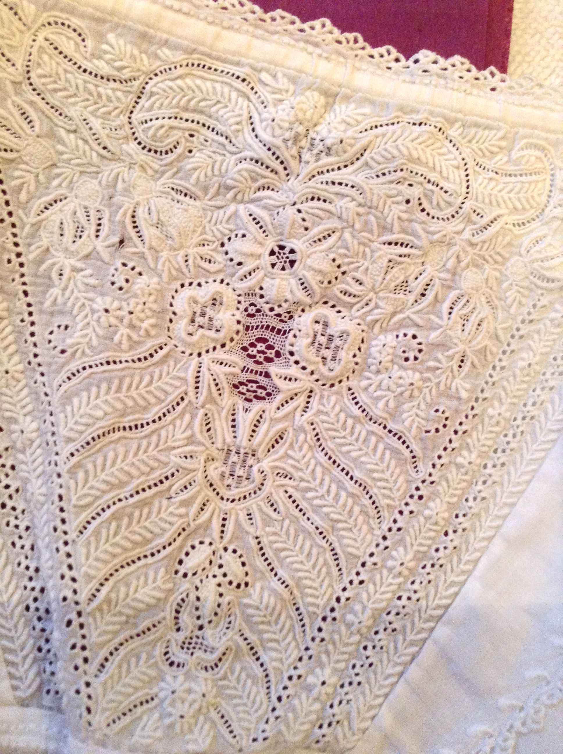 Ayrshire embroidered bodice from christening gown