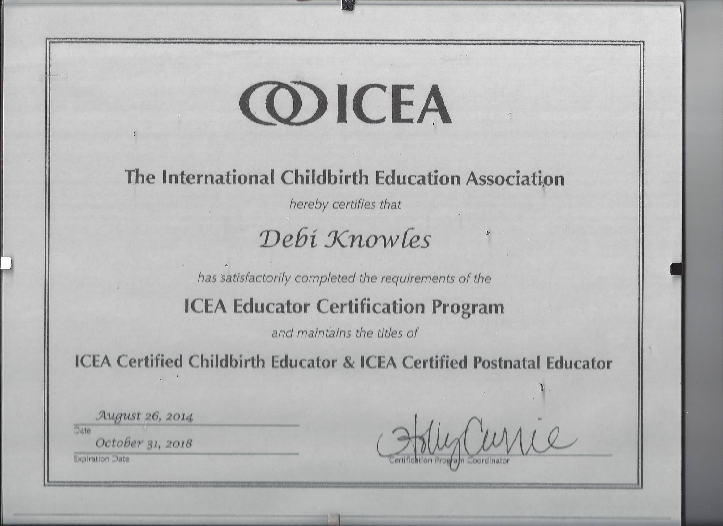 2014 Debi Is An Icea Certified Pcbe Icce Certified Educators