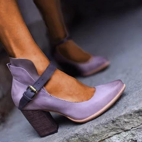 Women Casual Vintage Chunky Heel