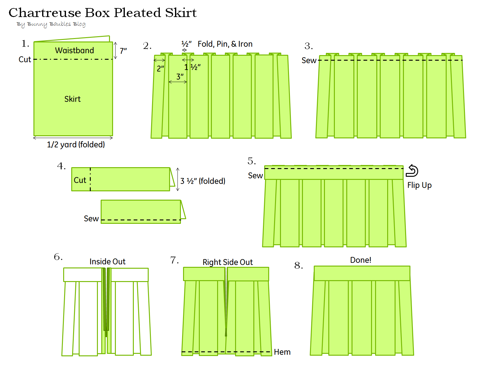 Chartreuse Pleated Skirt Sewing Tutorial Diy Sewing And