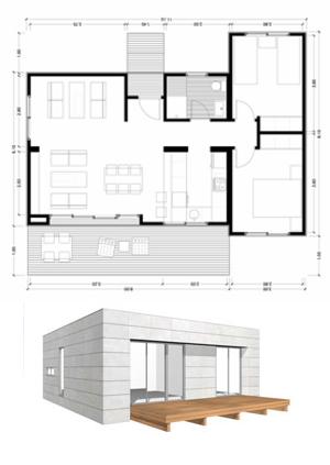 Planos casas de madera prefabricadas modelo de casa de 75 for Modelos de casas minimalistas de una planta