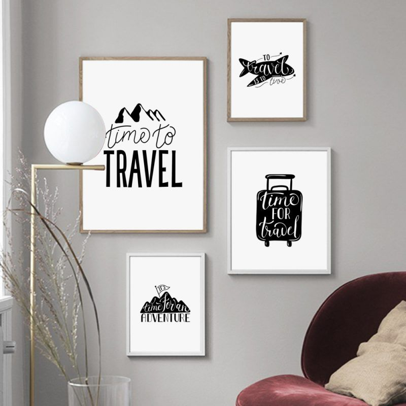 Black White Time To Travel Quotes Minimalist Nordic Posters And Prints Wall Art Canvas Painting Wall Pictures Kids Room Decor Travel Wall Decor White Wall Decor Wall Art Canvas Painting #white #wall #decorations #living #room