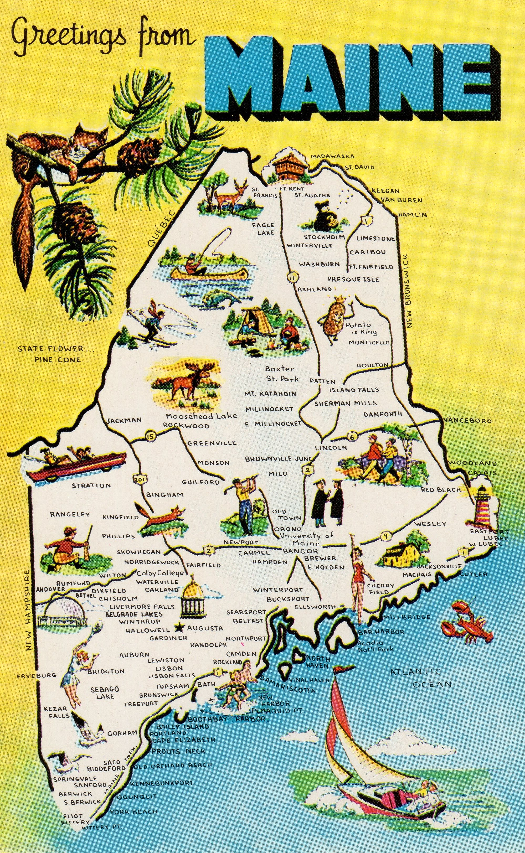 capital of maine map Maine Pine Tree State 23rd State Admitted To The Union capital of maine map
