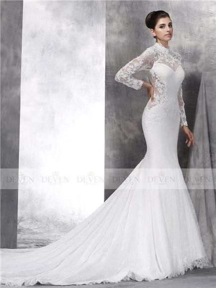 Long Sleeve Hight Collar Beaded Lace Applique Mermaid Gown