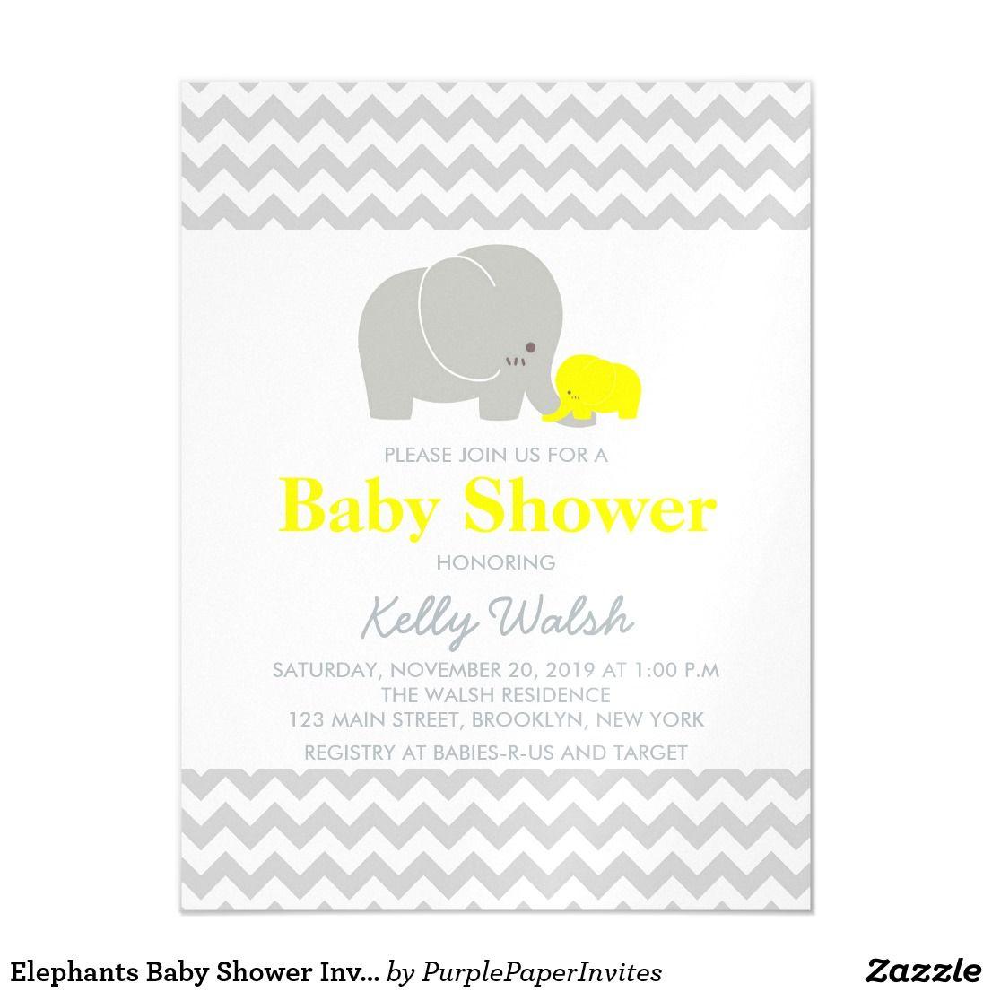 Elephants Baby Shower Invitations Chevron | Elephant baby showers ...