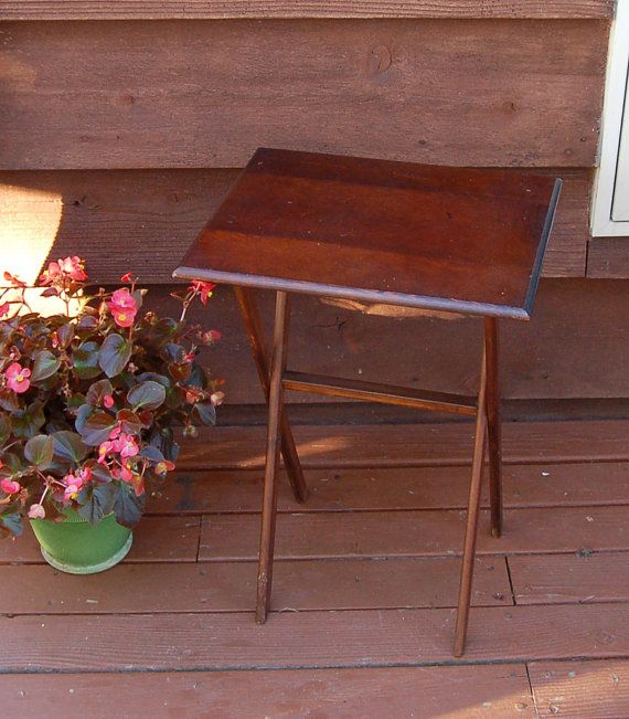 Vintage Wooden Folding Table / Wood TV Tray Table Etsy PineSpringsCottage