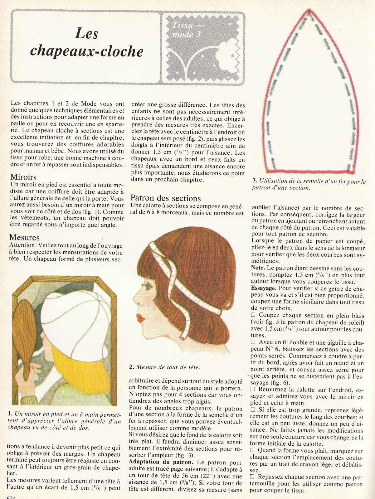 Patron Chapeau Cloche Mod 232 Le Ann 233 Es 70 Free Pattern Hat