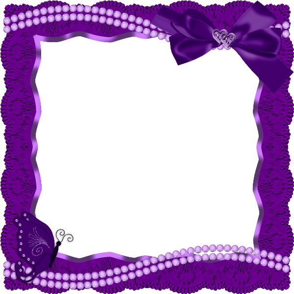 Purple Heart Frames | Purple Transparent Frame with Butterfly Ribbon ...