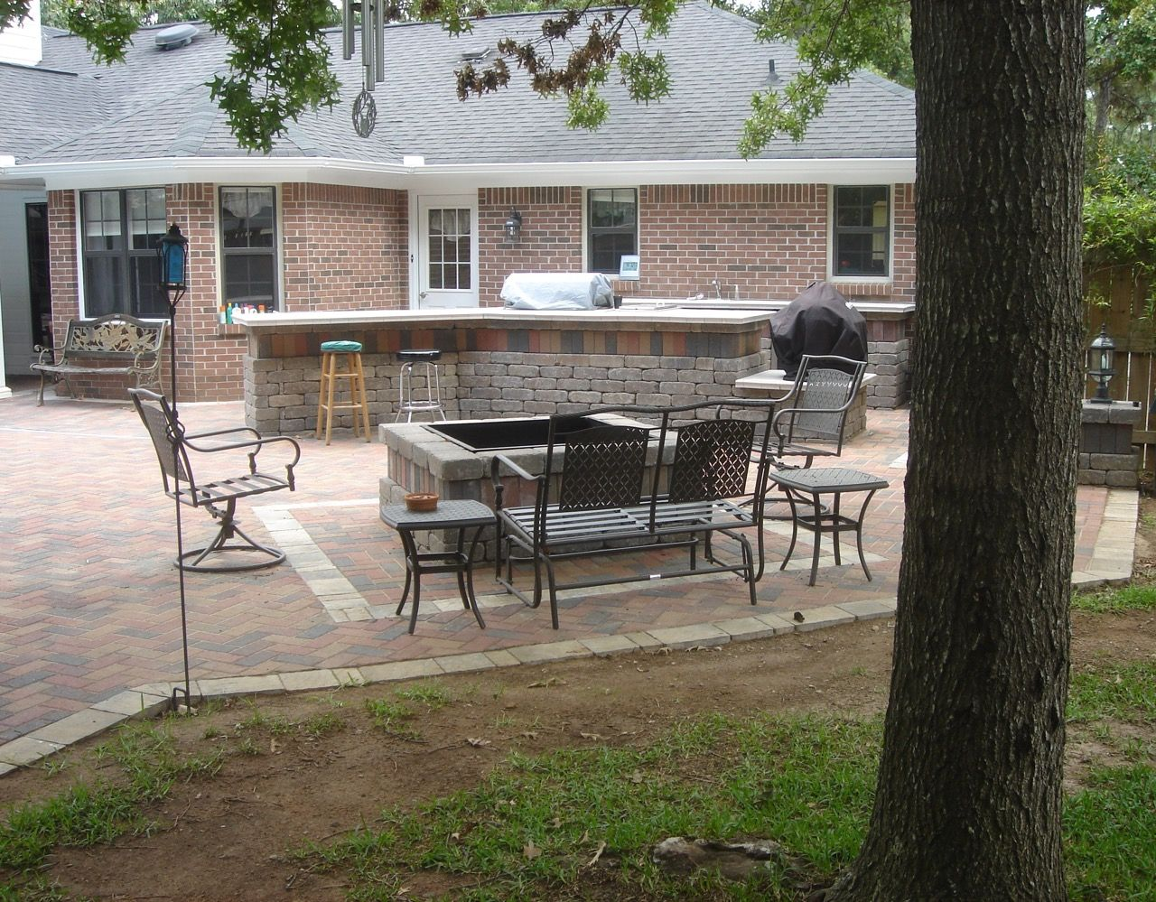 Hardscape Fire Pit And Outdoor Kitchen In Warner Robins Ga Patio Paver Patio Hardscape