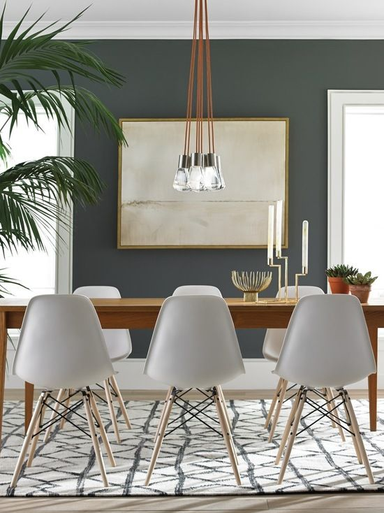 White Modern Dining Chairs With Wood Legs Small Dining Room Decor Dining Room Small Mid Century Dining Room