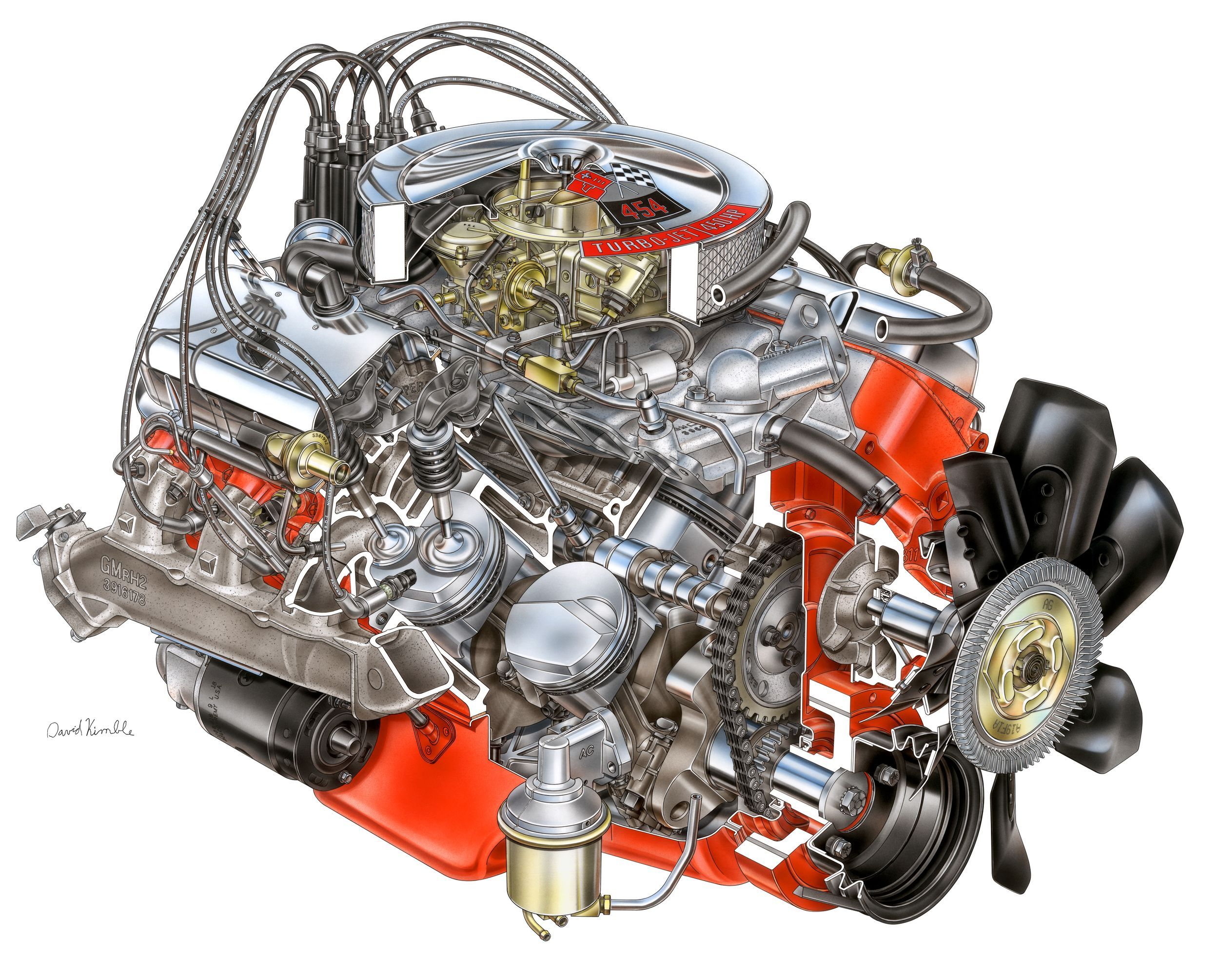 chevrolet ls6 454 450hp engine cutaway [ 2500 x 2005 Pixel ]