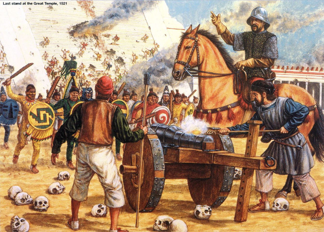 1521, conquista de Tenochtitlan, los aztecas ofrecen la última defensa  frente al Templo Mayor