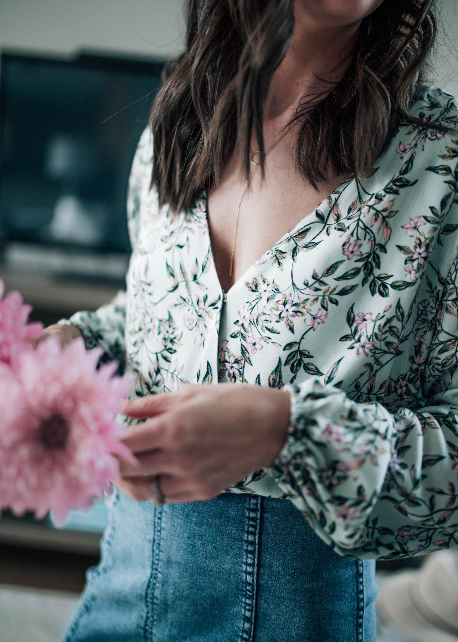 241fc9852a Floral Long Sleeve V-Neck Wrap Top, High-waisted Denim Free People Skirt //  Pretty in the Pines Lifestyle Blog