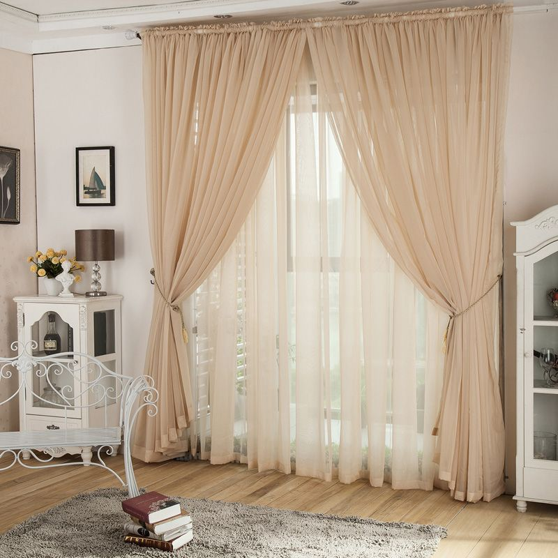 20 Best Curtain Ideas For Living Room 2017: Romantic Champagne Yarn Lace Curtains For Living Room In