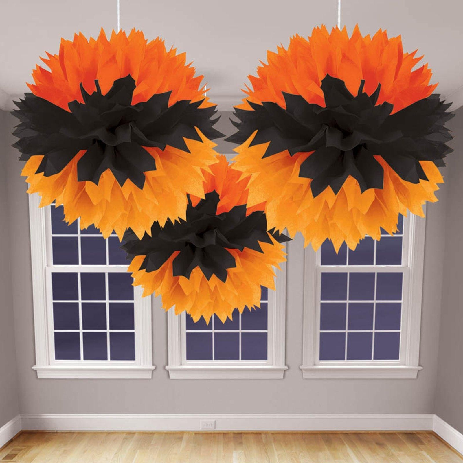 Halloween Orange and Black Fluffy Decorations