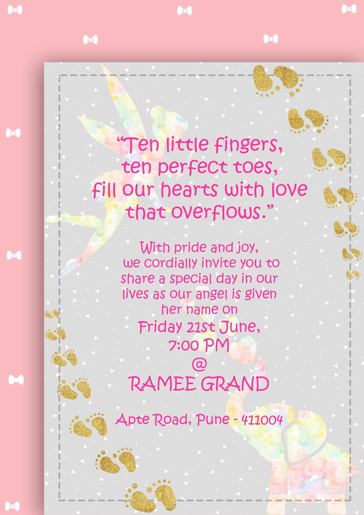 Naming ceremony invitation babygirl indian pastels