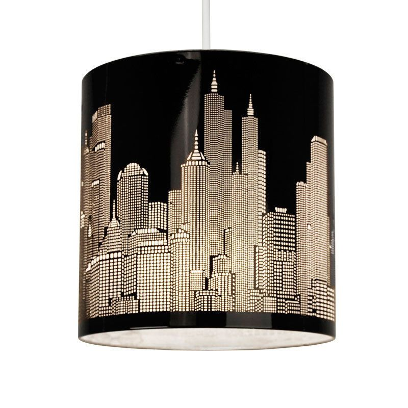details about modern new york skyline gloss black ceiling pendant light lamp shade lampshade
