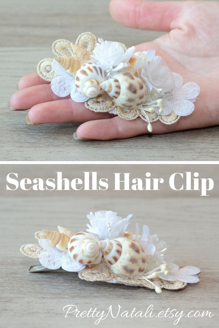 The beautiful real seashells gold color lace white lace flowers the beautiful real seashells gold color lace white lace flowers artifiacial flowers on a metal hair clip perfect idea for your beach wedding b izmirmasajfo Image collections
