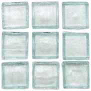 Recycled Glass Tile Clear Green Tea 1x1