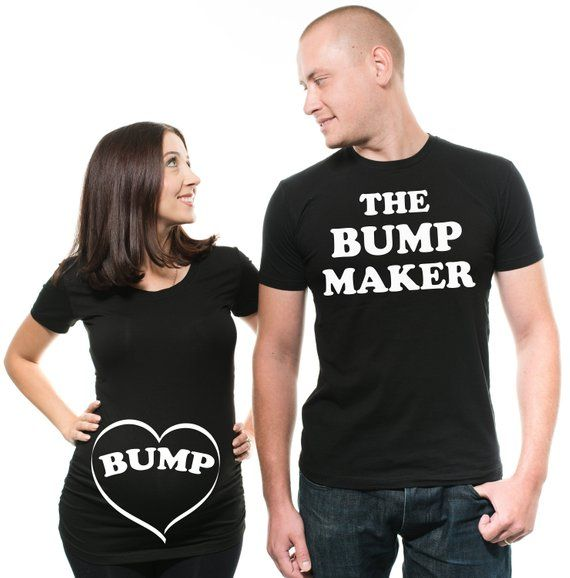 2a17dadf Couple Matching T-Shirts Funny Bump Couple Pregnancy Top Dad Maternity T- Shirt