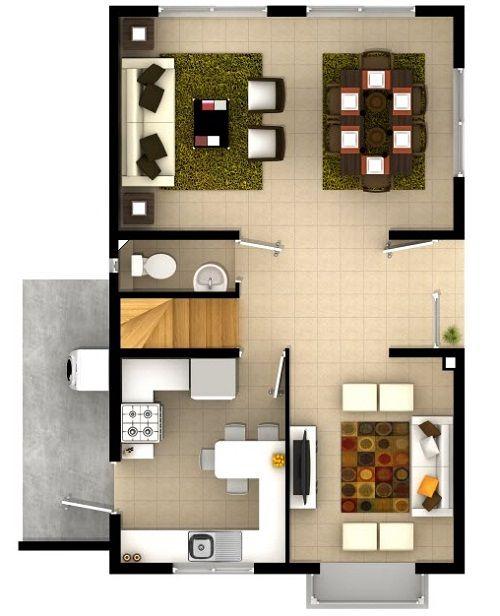 Plano de bonito dise o de cada de dos pisos de 95 m2 casa for Planos de casas de dos niveles