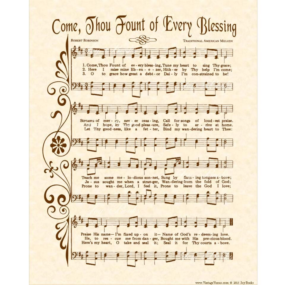 Come Thou Fount Of Every Blessing Christian Office Home Etsy Hymn Art Christian Lyrics Christian Songs
