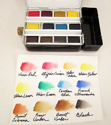 Vintage Winsor Newton Watercolor Travel Paint Set W 12 Half Pans