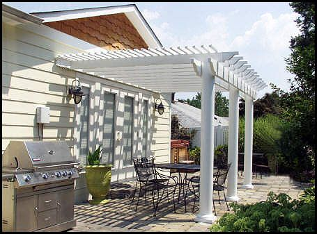 Attached three post vinyl pergola - I love the columns here instead of the  usual square - Attached Three Post Vinyl Pergola - I Love The Columns Here
