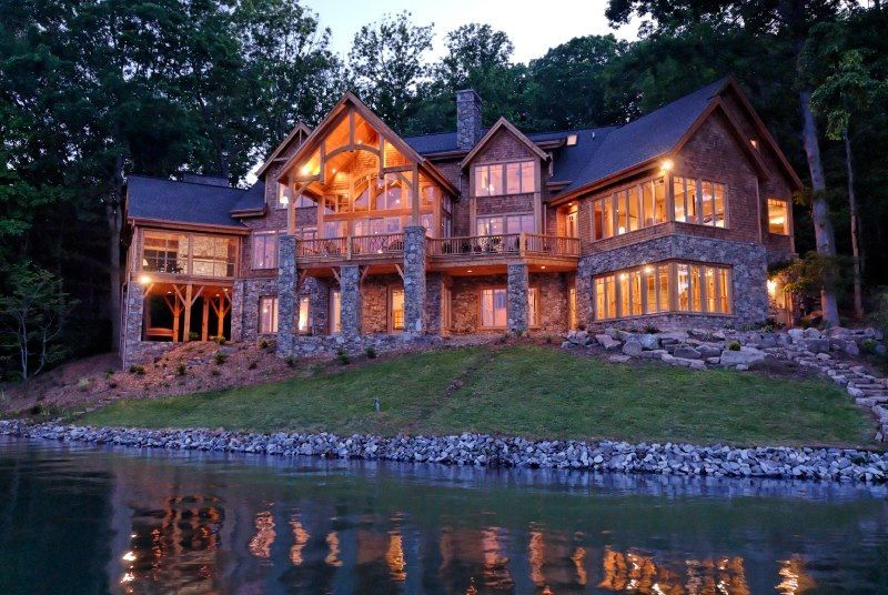 Log Contemporary Cabin Mansion With Images Mountain Dream Homes Lake House Plans Mountain House Plans