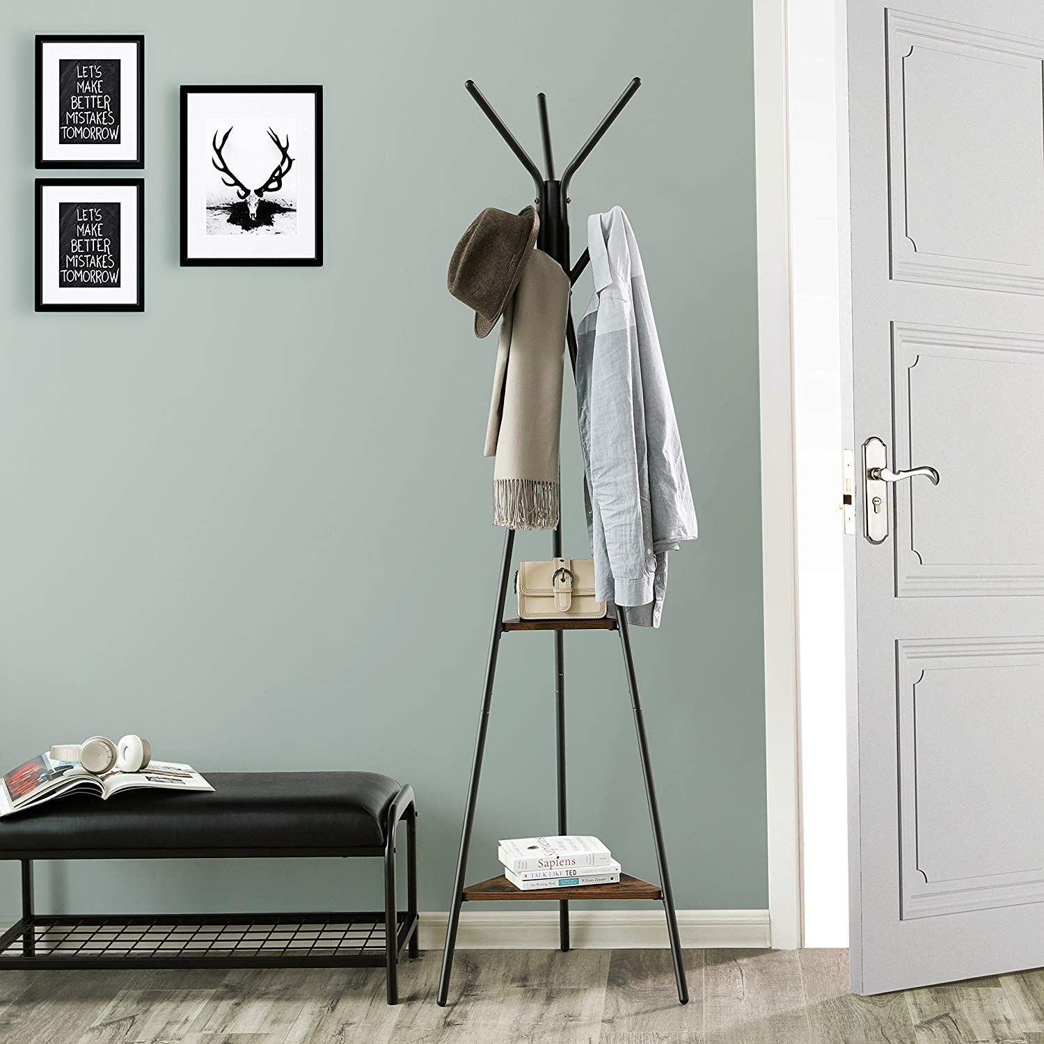 Songmics Coat Rack Stand Coat Tree Hall Tree Free Standing Industrial Style With 2 Shelves F Standing Coat Rack Standing Clothes Rack Coat Rack Wall