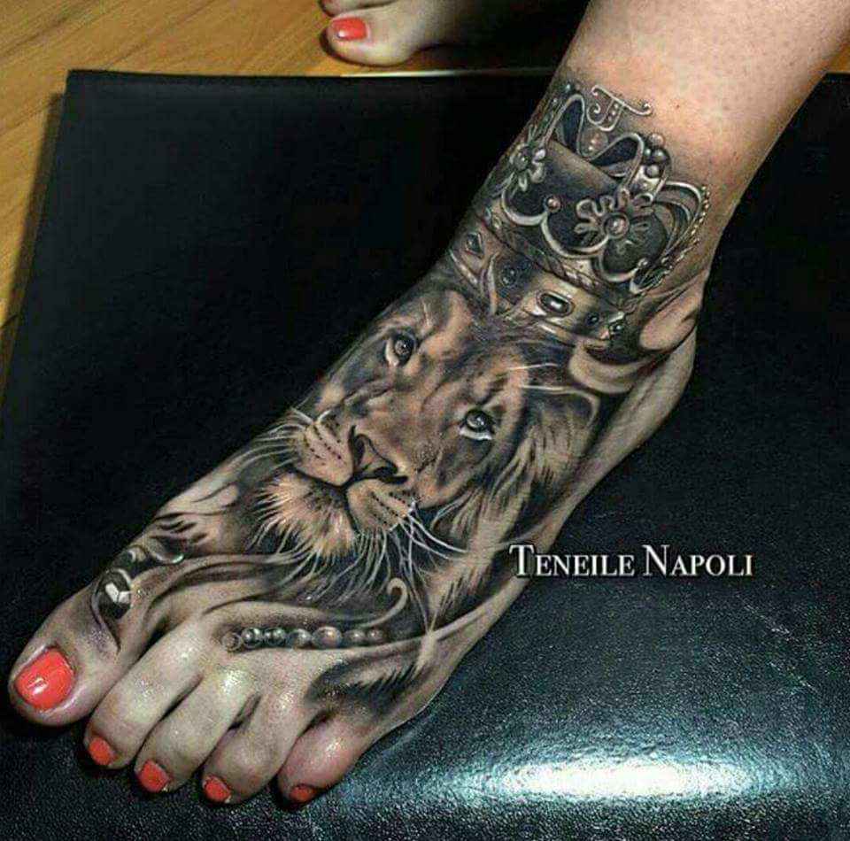 Japanese tattoos feb 27 frog tattoo on foot feb 25 japanese tattoo - The Crown Lion Tattoo On Foot By Teneile Napoli Is Very Beautiful Black And Grey Tattoo Idea However Lions Are Rare To Be Placed On Feet