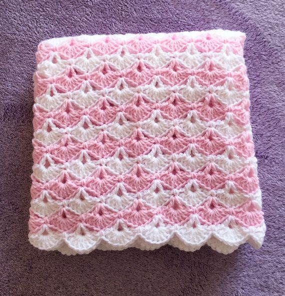 Crochet Baby Blanket, Pink and White, Other colors available, Shell ...