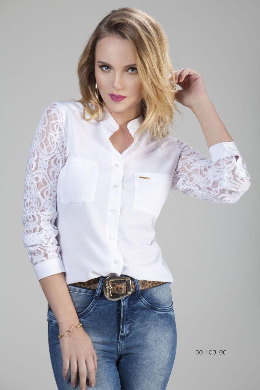 3e0772c79 Camisa Social Feminina 7 8 Renda Branca. Veja mais detalhes - Camisaria  Chemizz!
