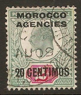 Morocco Agencies 1907 20c on 2d Pale grey-grn & carm-red. SG115.