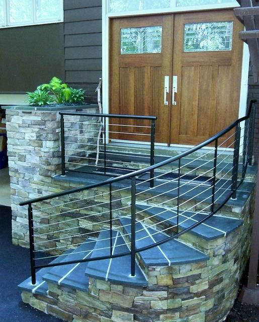 Curved cable stair railing new house inside pinterest cable nice and stairs for Curved metal railings exterior